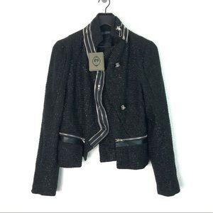 TOV Holy Black Shimmer Tweed Zipper Jacket 42